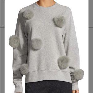 Tibi Pom Pom Grey Sweater